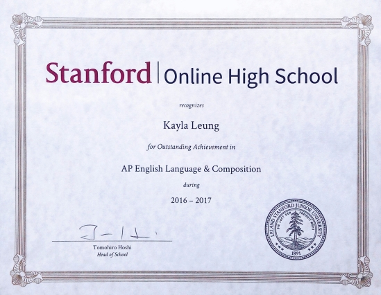 Stanford OHS Outstanding Achievement in AP English Language ...